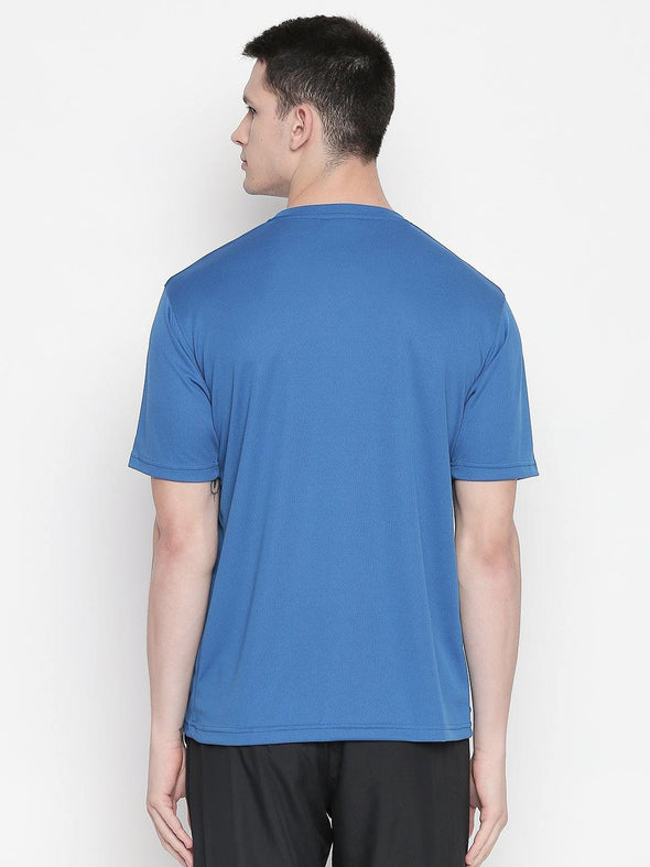 Men Royal Blue Round Neck Solid T-shirt-A10129RB
