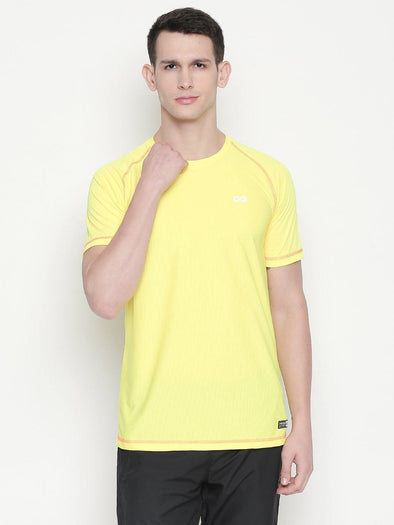 Men White Round Neck Solid T-shirt-A10123YW