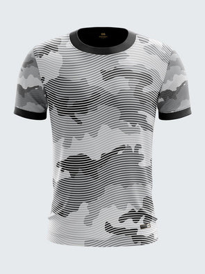 Men Grey Camouflage Printed Round Neck T-shirt- 1322GY