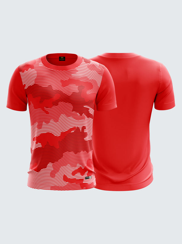 Men Red Camouflage Printed Round Neck T-shirt - 1322RD