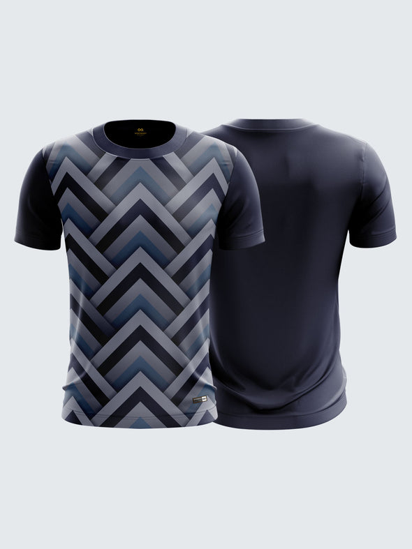 Men MultiColour Printed Round Neck Sports T-shirt-1329BL