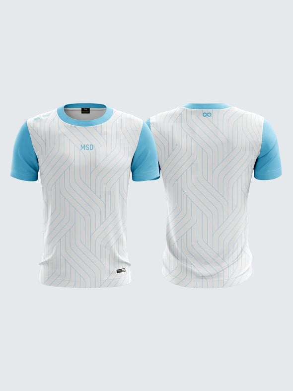 Men Light Blue Printed Cricket Jersey Sportsqvest