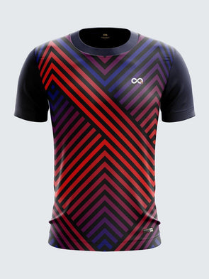 Men Navy Blue & Red Printed Round Neck Sports T-shirt-1490NB