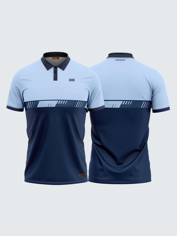Men Polo Blue Printed T-shirt-1708BL