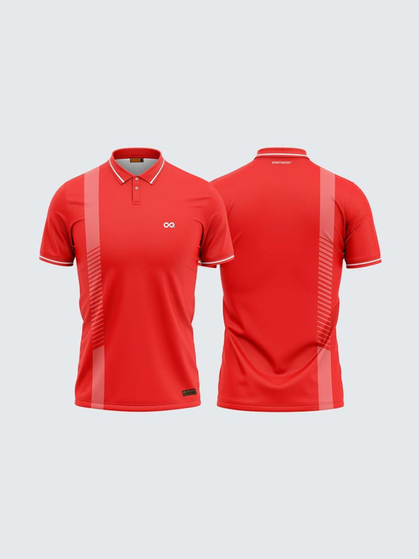 Men Polo Red Printed T-shirt-1711RD