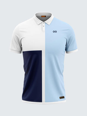 Men Polo Blue Printed T-shirt-1712BL