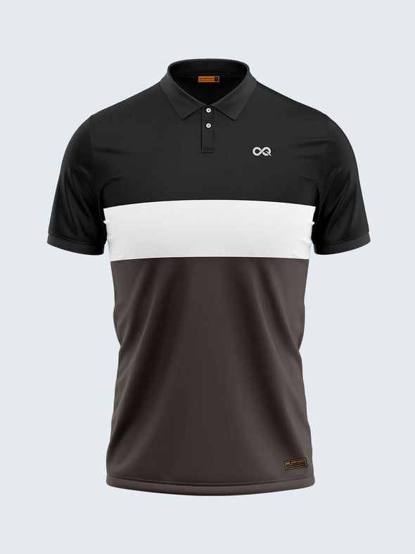 Men Black & Grey Polo T-shirt-1794BK