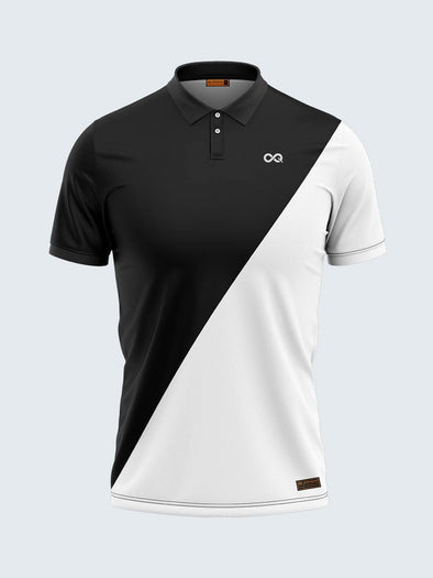 Men Black & White Polo T-shirt-1795WH - Sportsqvest