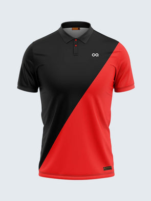 Men Black & Red Polo T-shirt-1795BK - Sportsqvest