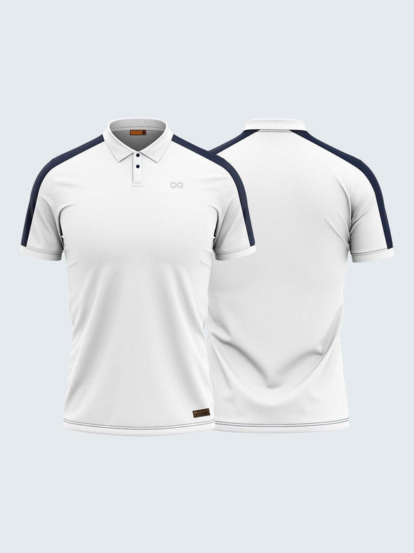 Men White & Blue Polo T-shirt-1796WH