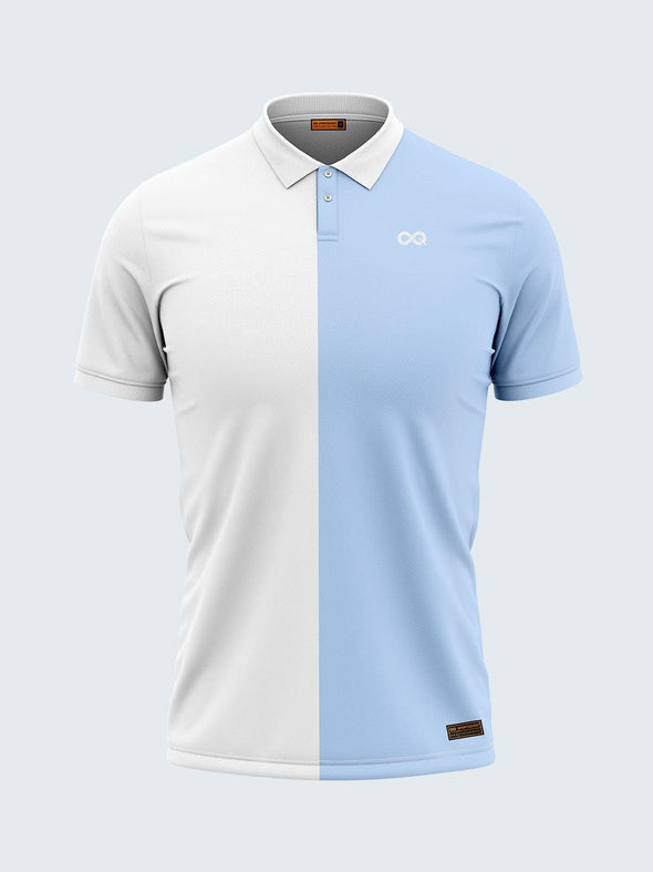 Men White & Blue Polo T-shirt-1797WH