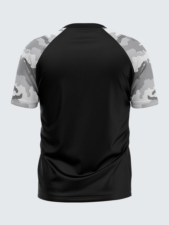 Men Printed Black Raglan Sleeve T-shirt-1700BK - Sportsqvest