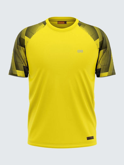 Men Printed Yellow Raglan Sleeve T-shirt-1702YW