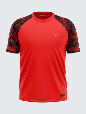 Men Printed Red Raglan Sleeve T-shirt-1703RD