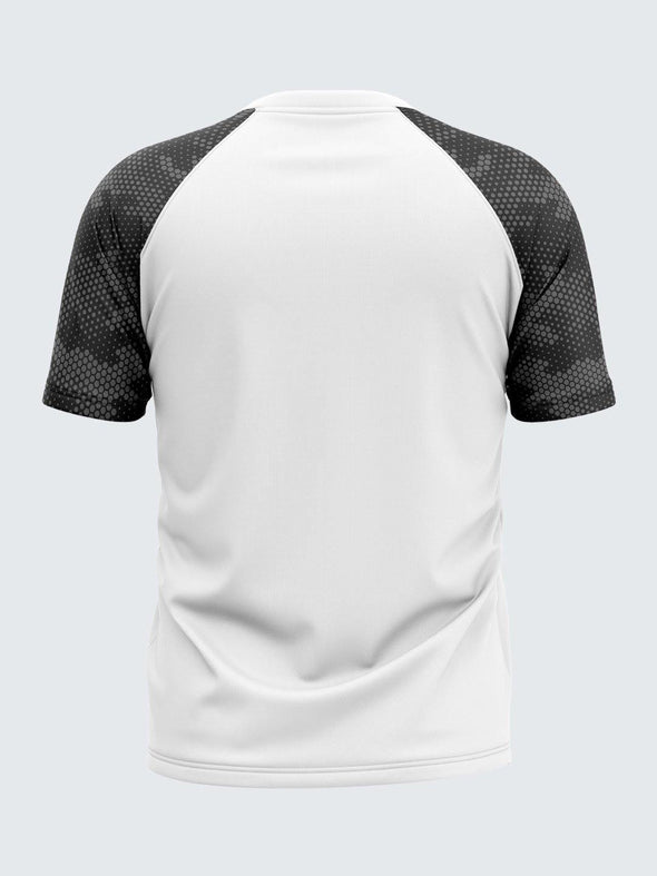 Men Printed White Raglan Sleeve T-shirt-1703WH - Sportsqvest
