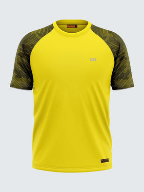 Men Printed Yellow Raglan Sleeve T-shirt-1703YW