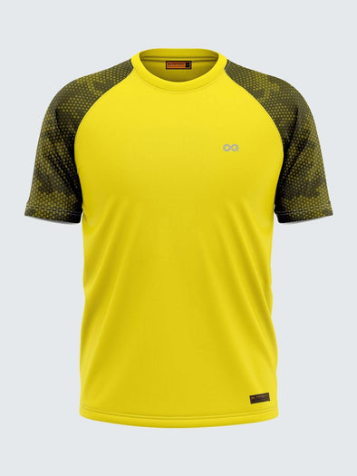 Men Printed Yellow Raglan Sleeve T-shirt-1703YW - Sportsqvest