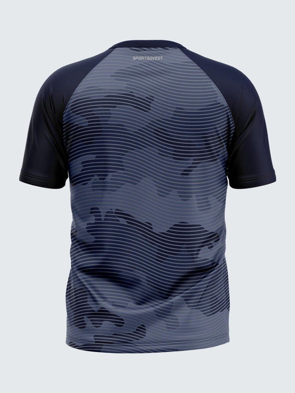 Men Printed Blue Raglan Sleeve T-shirt-1713BL