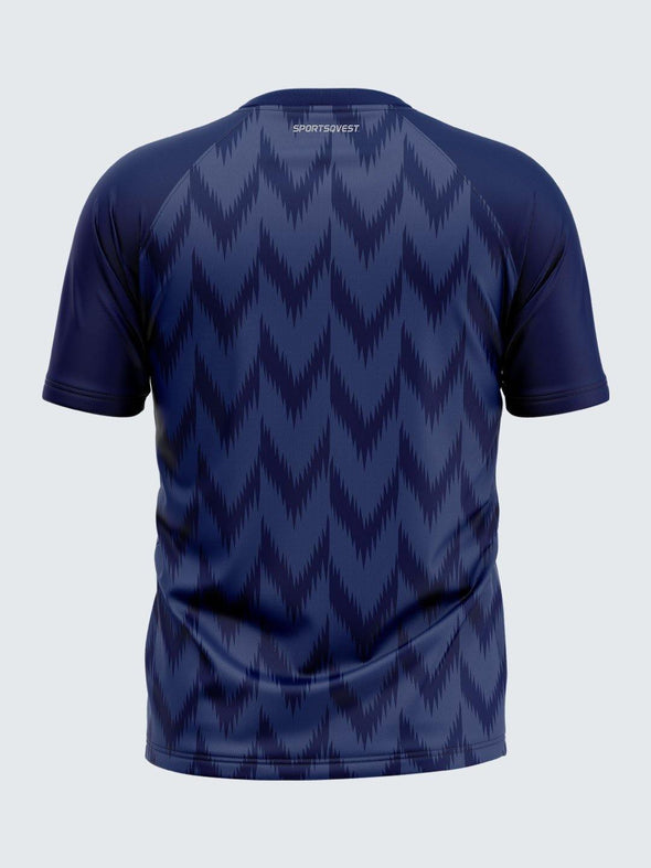 Men Printed Blue Raglan Sleeve T-shirt-1714BL