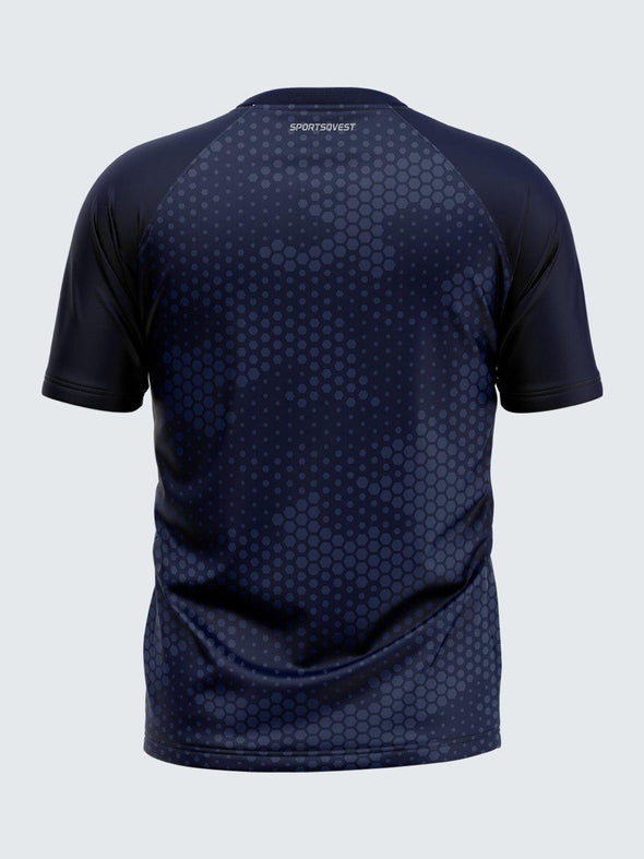 Men Printed Blue Raglan Sleeve T-shirt-1716BL