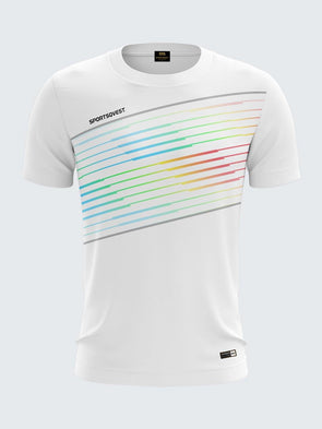 Men White Printed Round Neck Sports T-shirt -1783WH