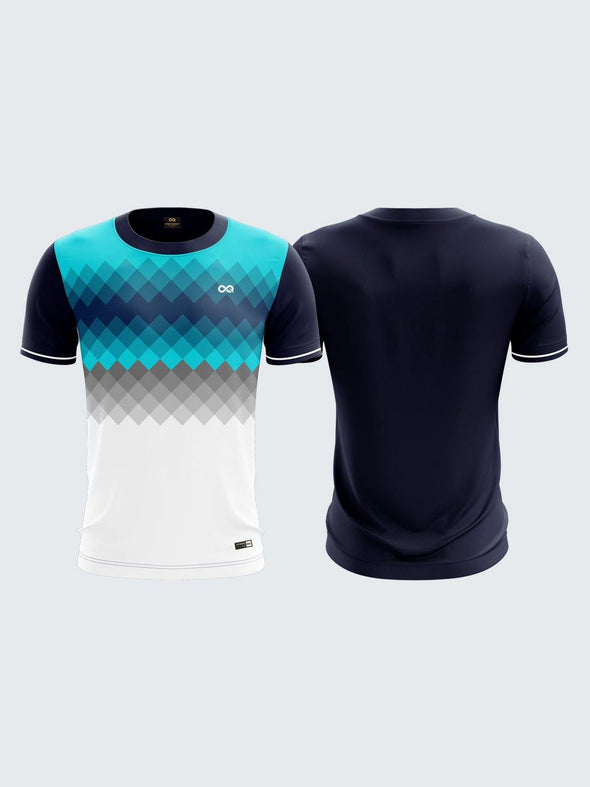 Men Blue Printed Round Neck Sports T-shirt -1785BL - Sportsqvest