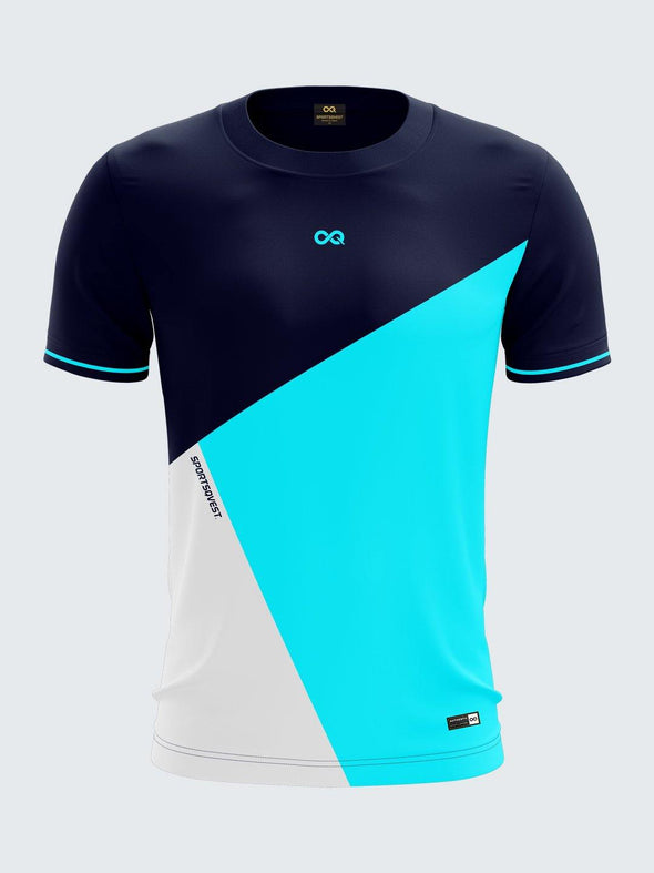 Men Blue Printed Round Neck Sports T-shirt -1787BL