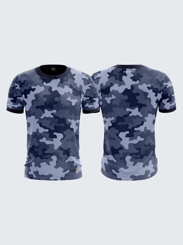 MenBlue Printed Round Neck Sports T-shirt -1791BL