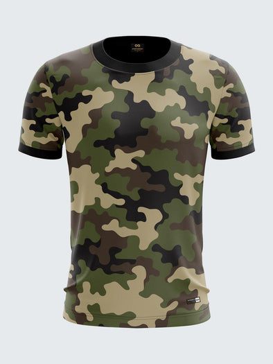 Men Green Printed Round Neck Sports T-shirt -1791GN
