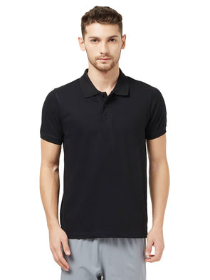 Men Black Solid Polo Neck T-shirt-A10076BK