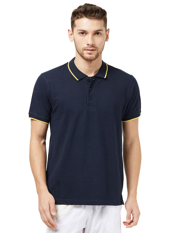 Men Navy Blue Solid Polo Neck T-shirt-A10096NB
