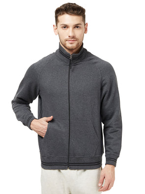 Men Grey Full Zip Sweatshirt Jacket-A10088GY