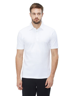 Men White Solid Classic Polo T-shirt-A1002WH