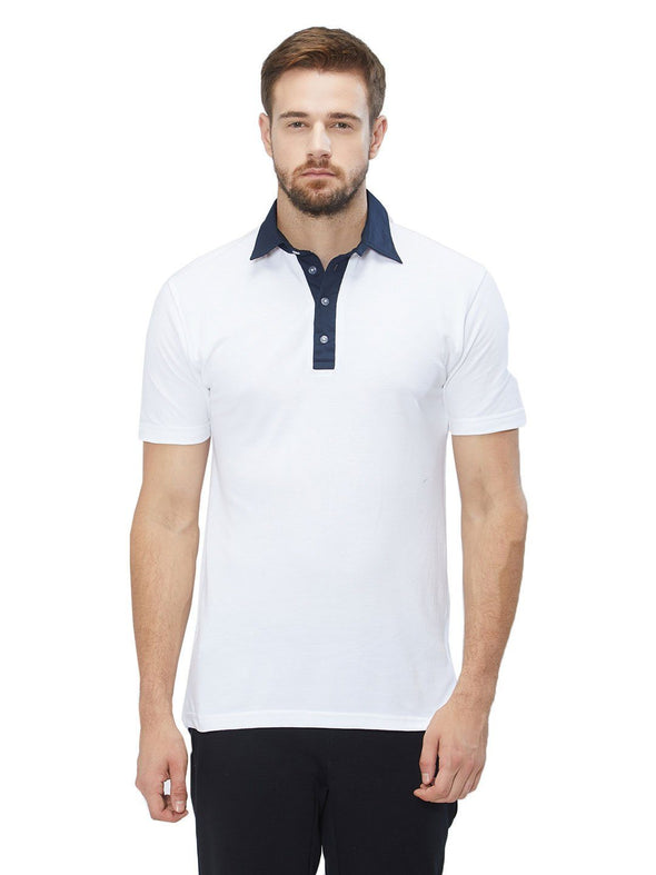 Men White Solid Cricket Pique Polo T-shirt-A1005WH