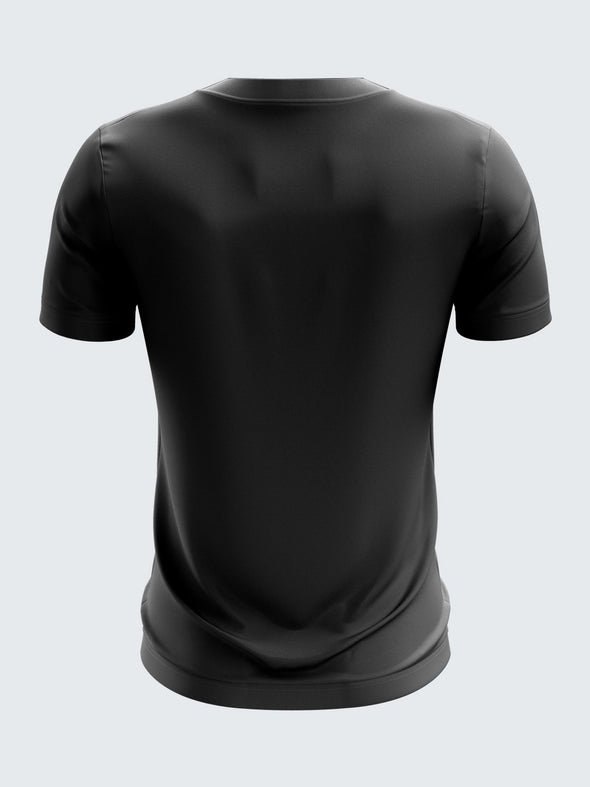 Men Black Printed Round Neck T-shirt-1384BK |Sportsqvest