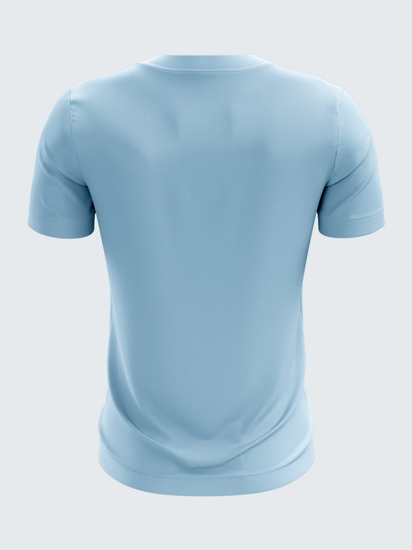 Men Light Blue Printed Round Neck T-shirt-1384LB |Sportsqvest