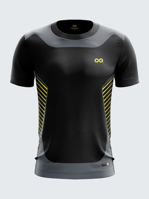 Men Black Printed Round Neck Football Jersey-1389BK |Sportsqvest