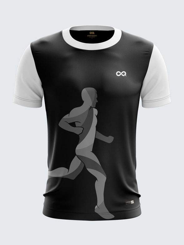 Men Black Printed Round Neck Running T-shirt-1433BK Sportsqvest