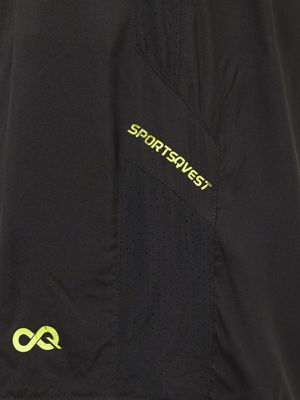 Men Black Solid Sports Shorts-A10100BK Sportsqvest
