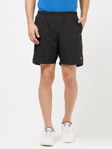 Men Black Solid Sports Shorts-A10057BK Sportsqvest