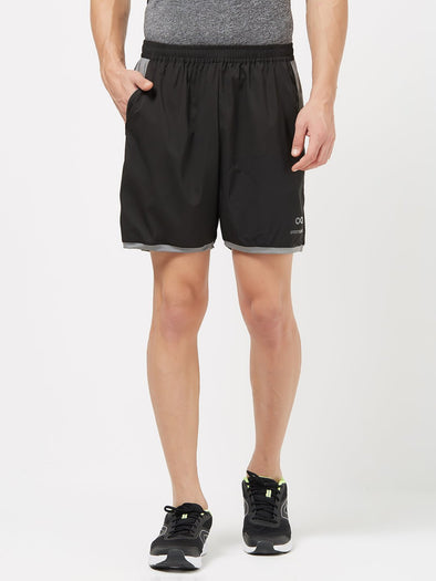 Men Black Solid Sports Shorts -A10075BK Sportsqvest