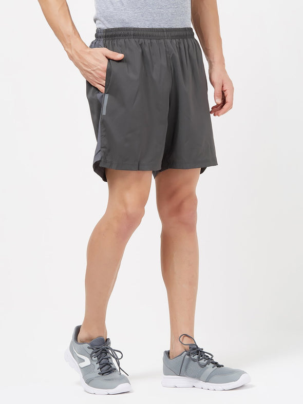 Men Charcoal Solid Sports Shorts-A10072CC Sportsqvest