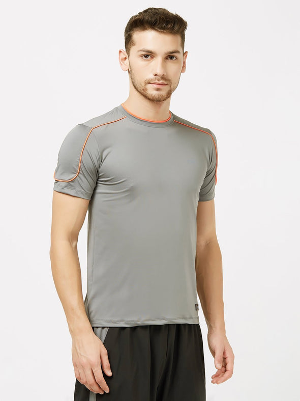 Men Grey Solid Round Neck Premium T-shirt-A10078GY Sportsqvest