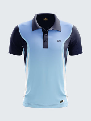 Men Light Blue Printed Polo Neck Cricket T20 Jersey Sportsqvest