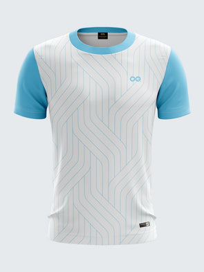Men Light Blue Printed Round Neck Cricket Jersey-1336LBSportsqvest
