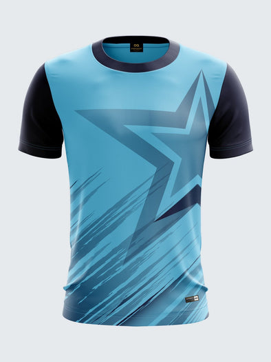 Men Light Blue Printed Round Neck Cricket Jersey-1335BLSportsqvest