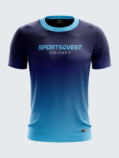 Men Light Blue Printed Round Neck Cricket Jersey-1385LB |Sportsqvest
