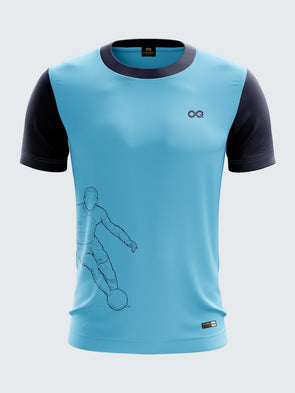 Men Light Blue Printed Round Neck Football Jersey-1339BLSportsqvest