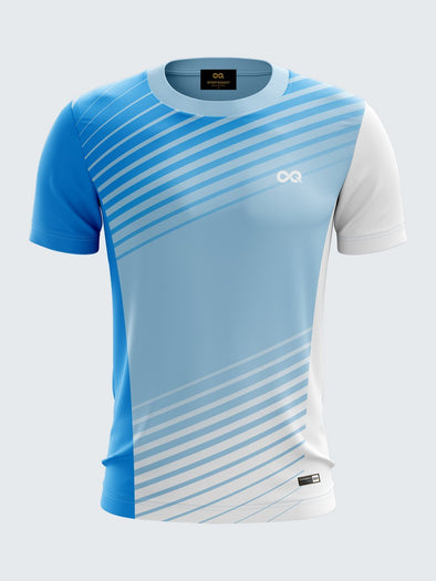 Men Light Blue Printed Round Neck Football Jersey-1391LB |Sportsqvest