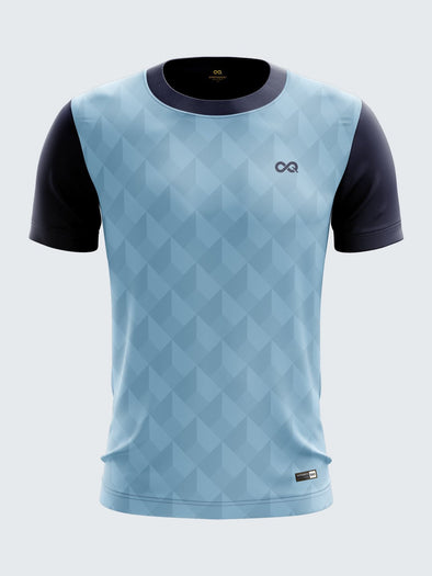 Men Light Blue Printed Football Jersey Sportsqvest
